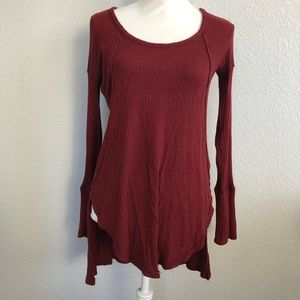 Free People Women's Red Waffle Shirt